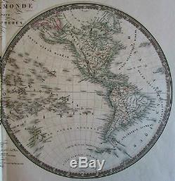 World in Hemispheres withLake Timpanogos Mts. Of Moon Africa 1836 Brue large map